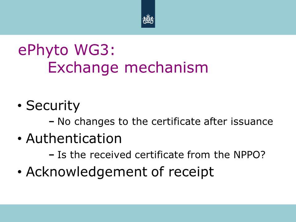 ePhyto WG3: Exchange mechanism