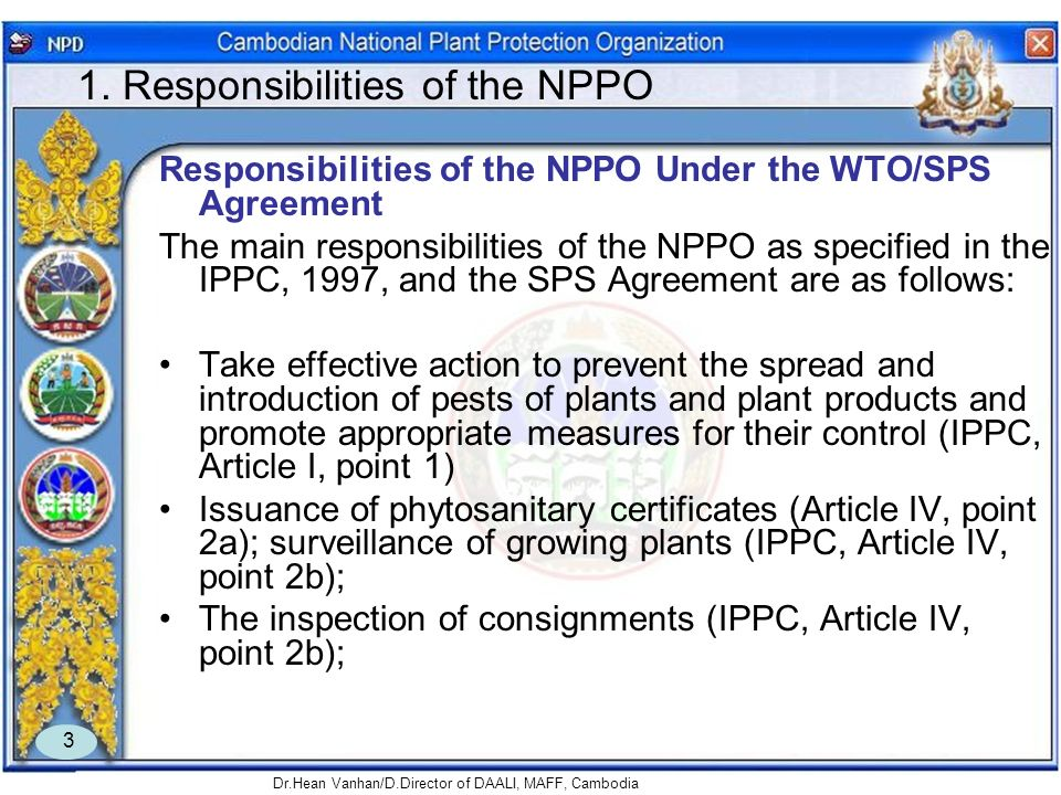 1. Responsibilities of the NPPO
