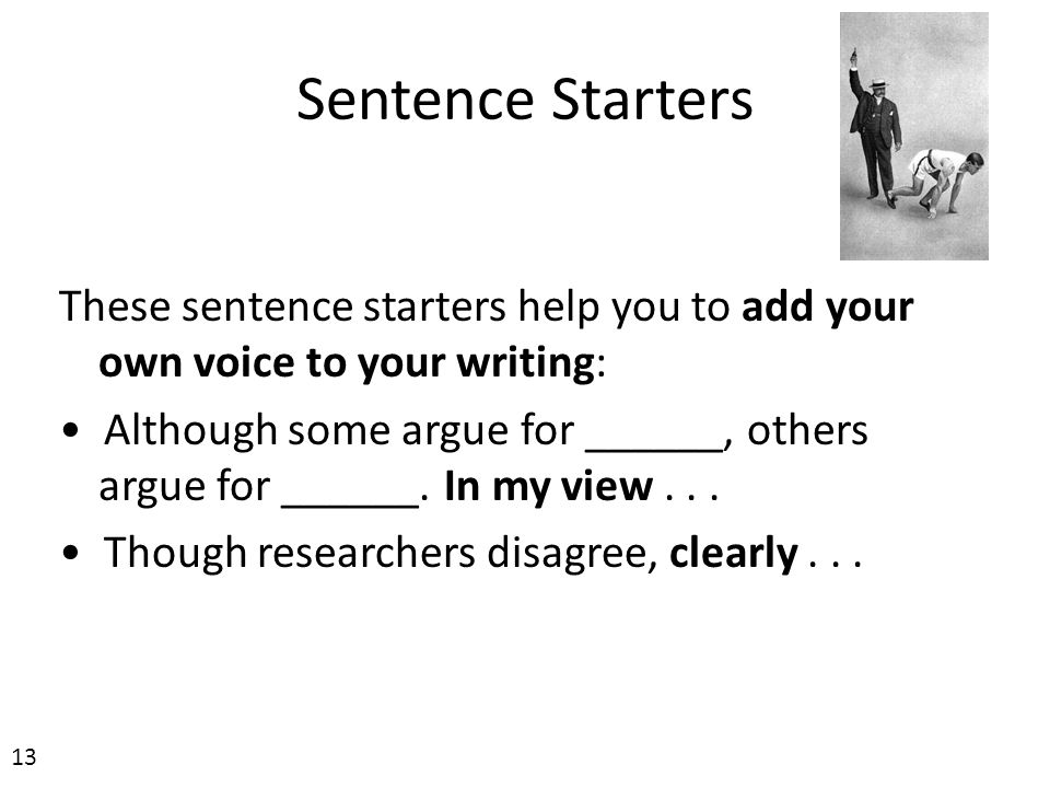 writing to argue sentence starters
