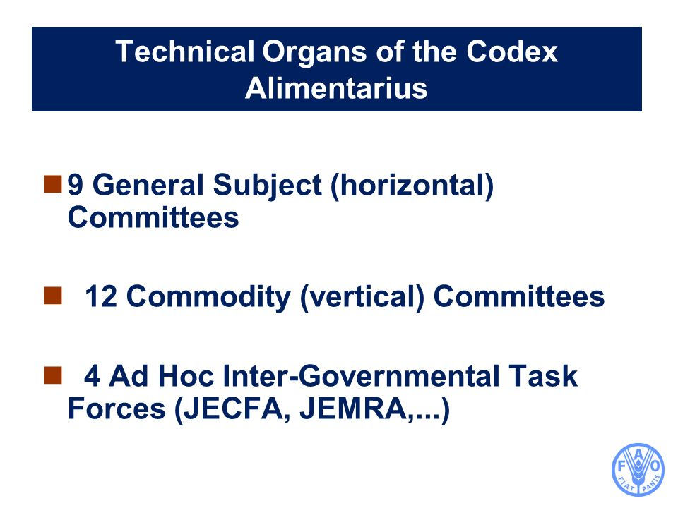Technical Organs of the Codex Alimentarius