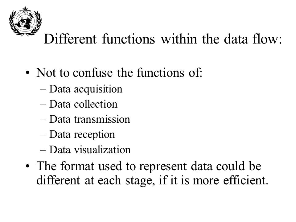 Different functions within the data flow: