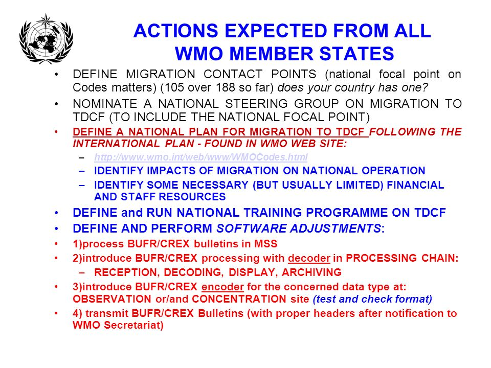 ACTIONS EXPECTED FROM ALL WMO MEMBER STATES