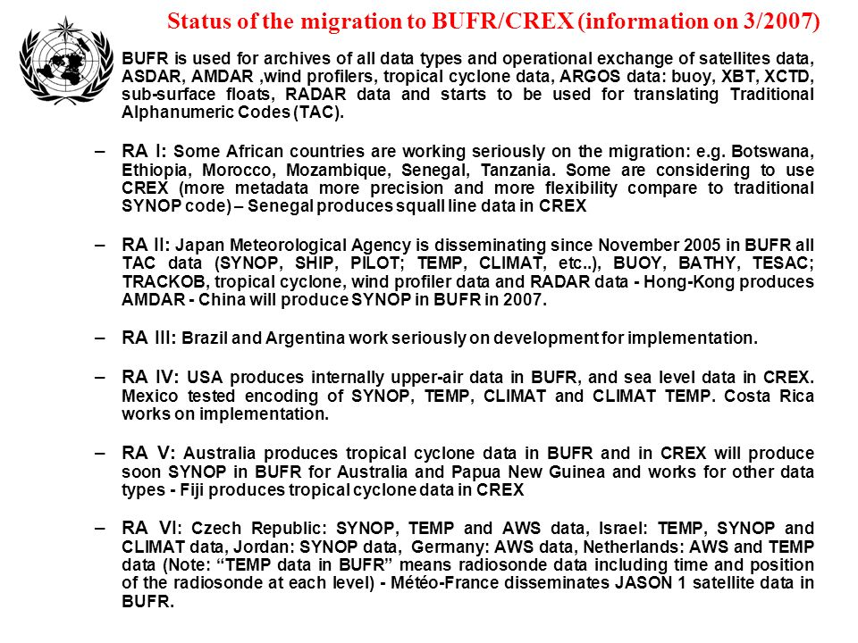 Status of the migration to BUFR/CREX (information on 3/2007)