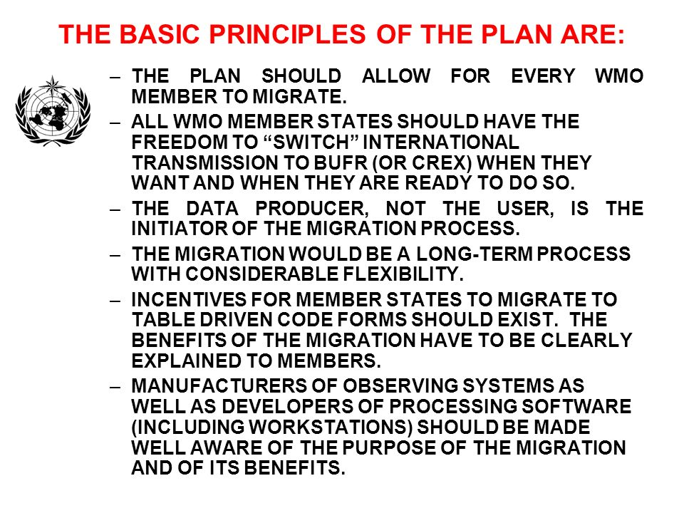 THE BASIC PRINCIPLES OF THE PLAN ARE: