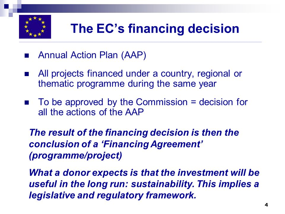 The EC's financing decision