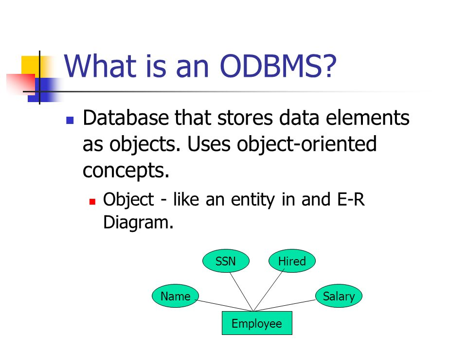 Object oriented database management systems odbms ppt video what is an odbms database that stores data elements as objects uses object oriented ccuart Images