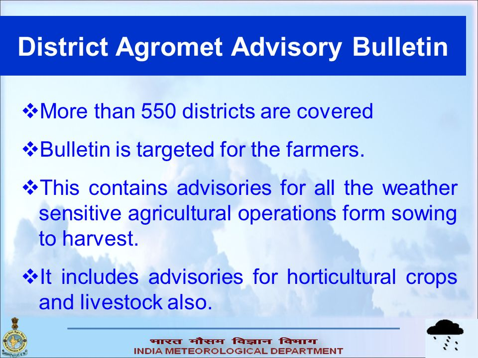 District Agromet Advisory Bulletin