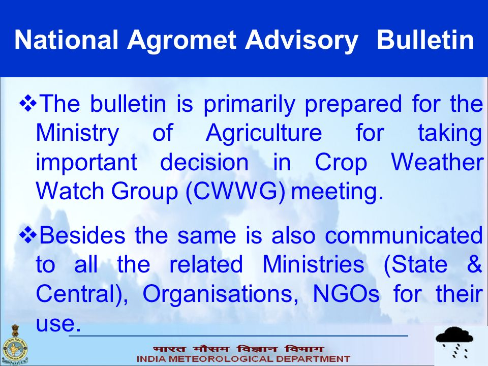 National Agromet Advisory Bulletin