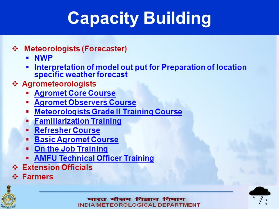 Capacity Building Meteorologists (Forecaster) NWP