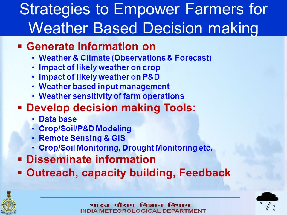 Strategies to Empower Farmers for Weather Based Decision making