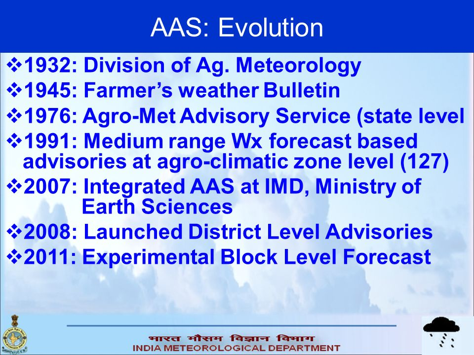 AAS: Evolution 1932: Division of Ag. Meteorology