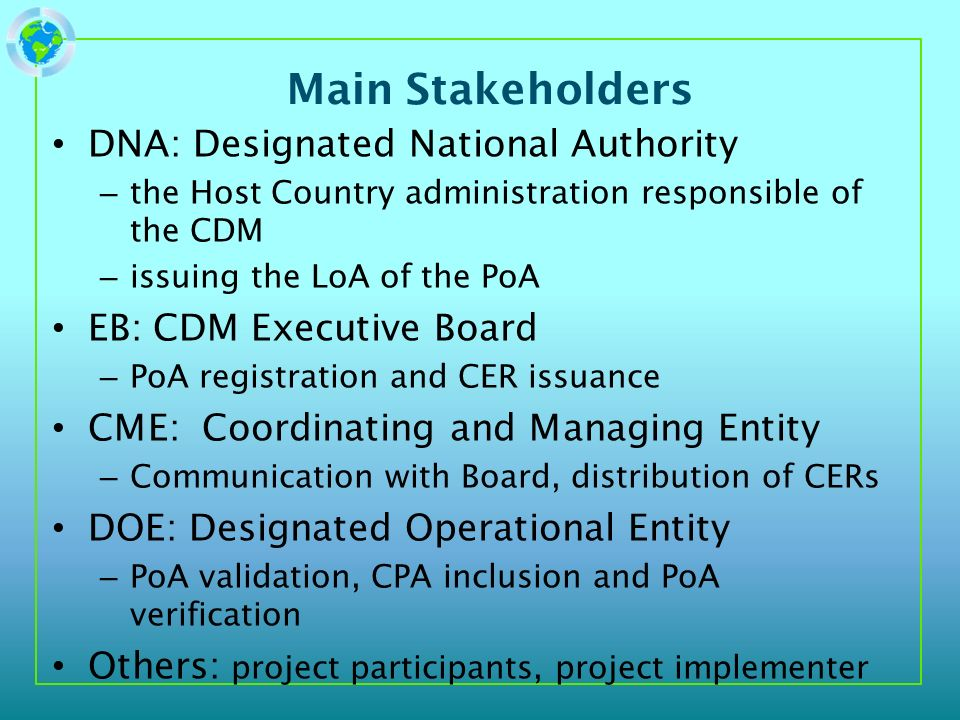 Main Stakeholders DNA: Designated National Authority