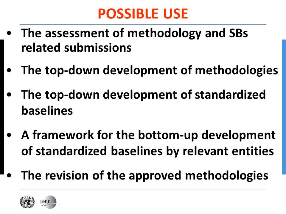 POSSIBLE USE The assessment of methodology and SBs related submissions