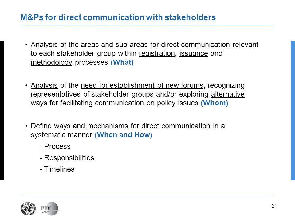 M&Ps for direct communication with stakeholders