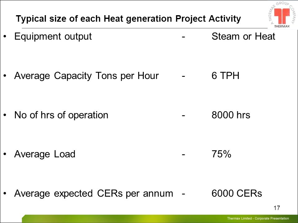 Typical size of each Heat generation Project Activity
