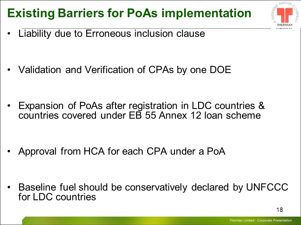 Existing Barriers for PoAs implementation
