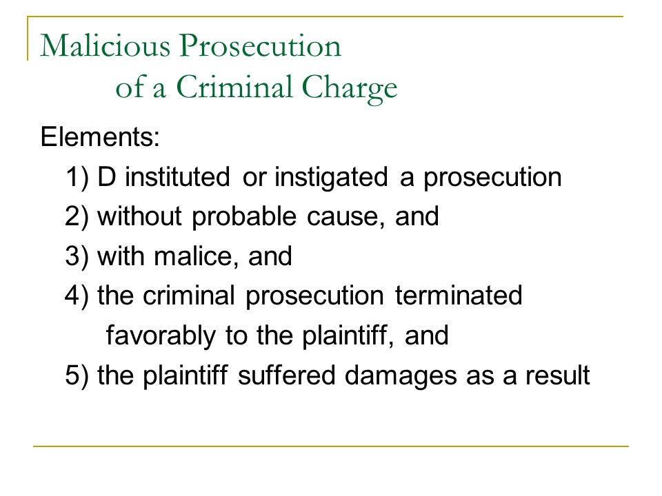 suit for damages for malicious prosecution