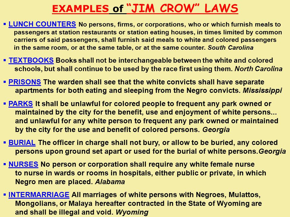 Examples Of Jim Crow Laws Choice Image Example Cover Letter For Resume