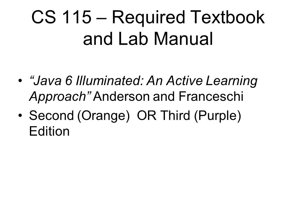 Java 6 illuminated manual java illuminated an active learning approach 4th edition array welcome to iit and cs115 ppt video online download rh slideplayer com fandeluxe Images