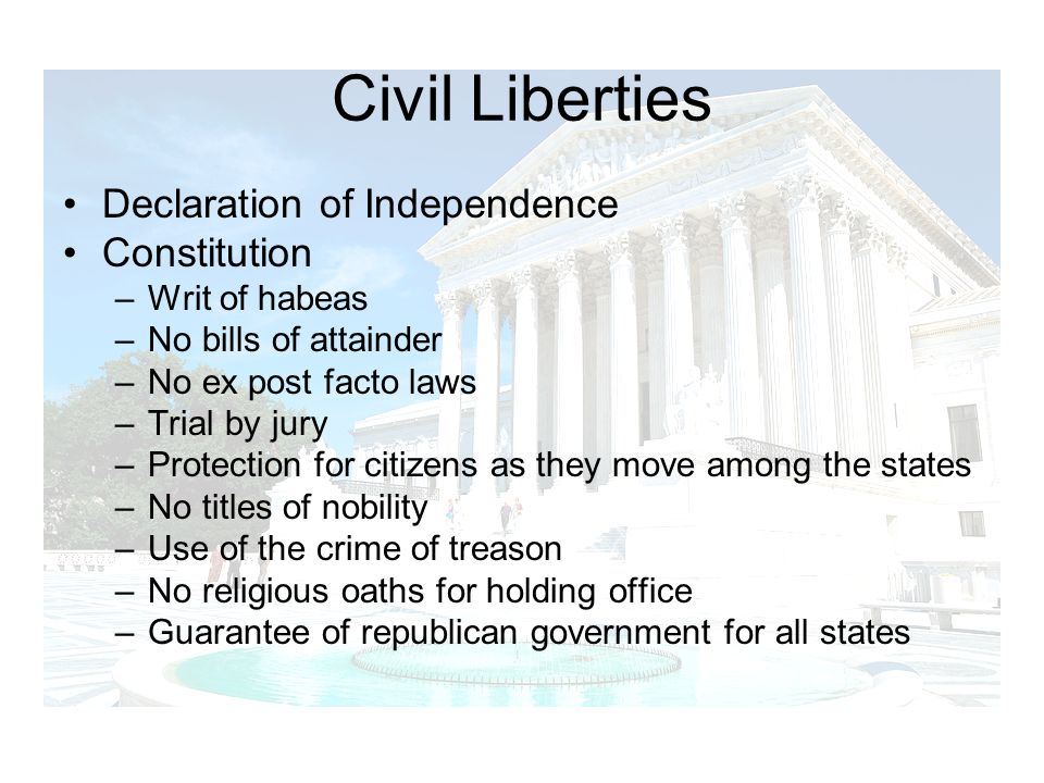 Civil Liberties Declaration of Independence Constitution