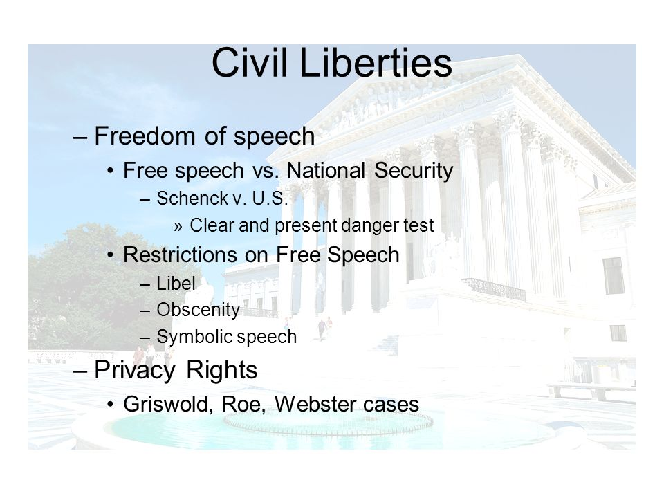 Civil Liberties Freedom of speech Privacy Rights