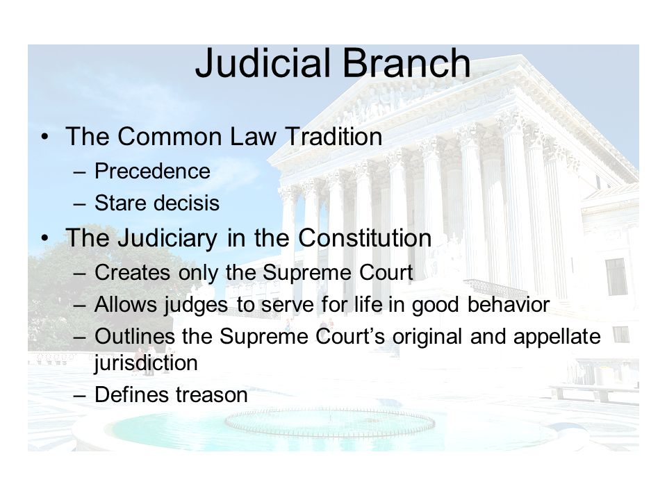 Judicial Branch The Common Law Tradition