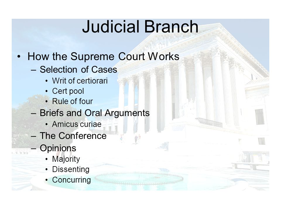 Judicial Branch How the Supreme Court Works Selection of Cases