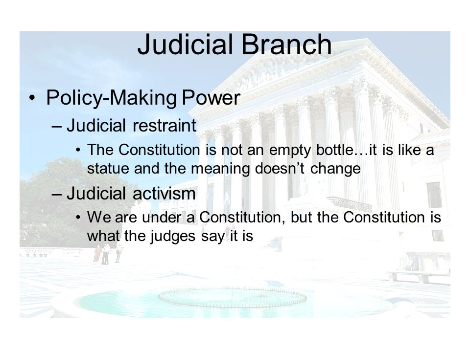 Judicial Branch Policy-Making Power Judicial restraint
