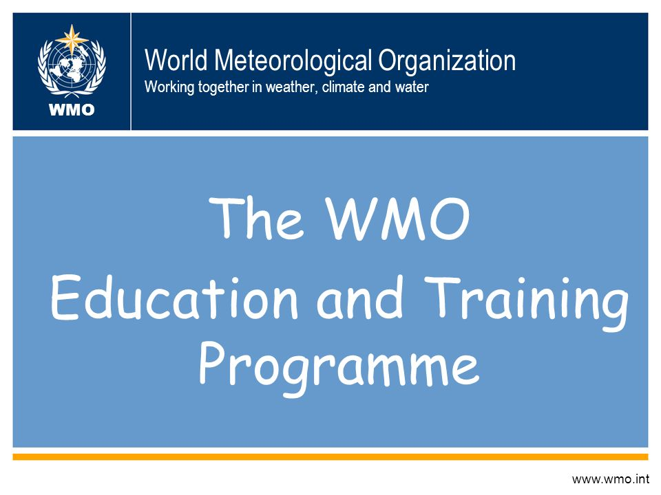 The WMO Education and Training Programme