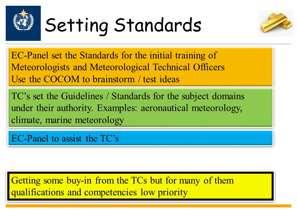Setting Standards EC-Panel set the Standards for the initial training of Meteorologists and Meteorological Technical Officers.