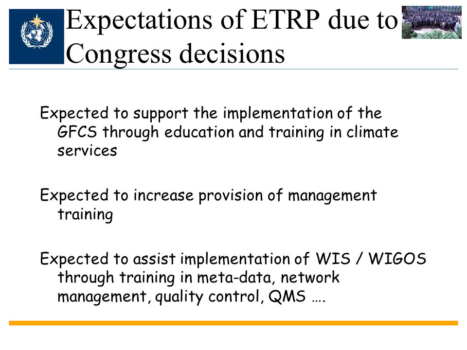 Expectations of ETRP due to Congress decisions