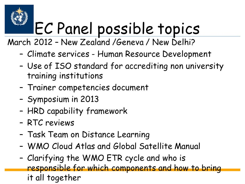 EC Panel possible topics