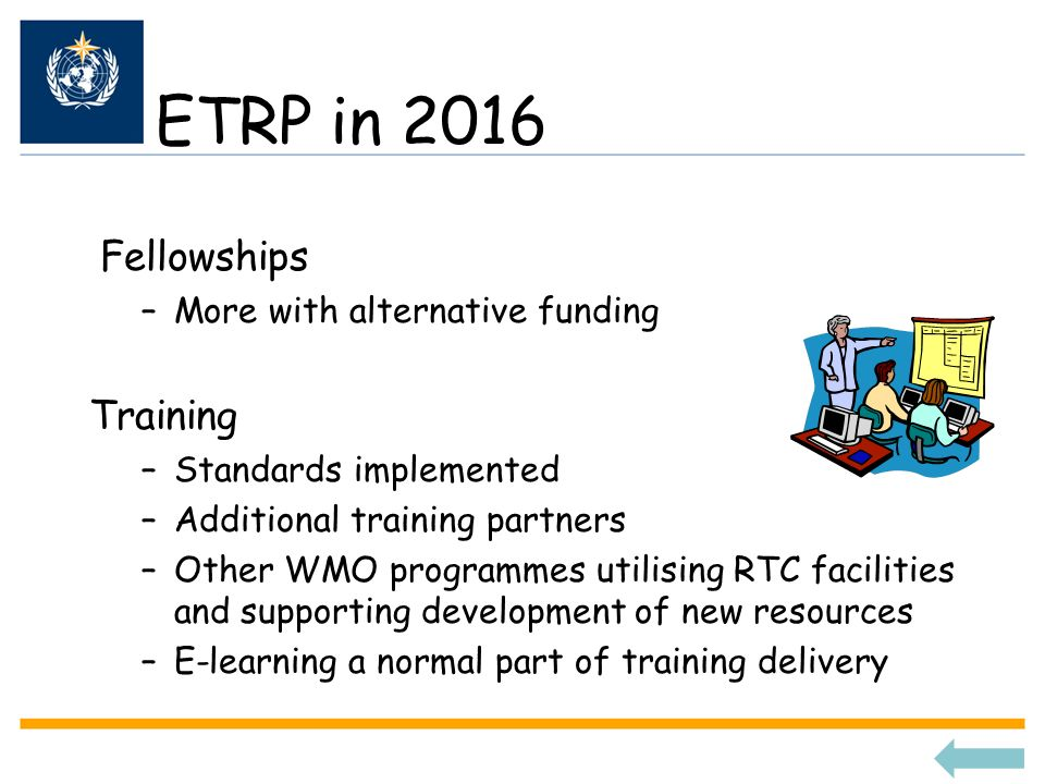 ETRP in 2016 Fellowships Training More with alternative funding