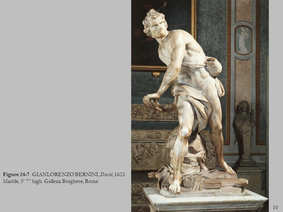 Figure 24-7 GIANLORENZO BERNINI, David, 1623. Marble, 5' 7 high