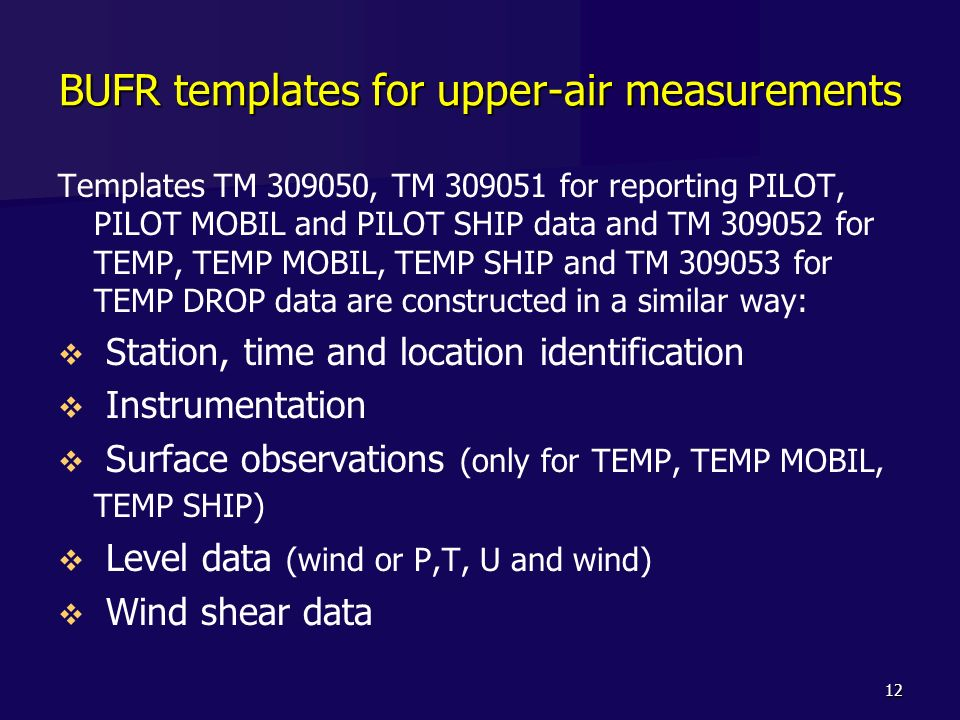 BUFR templates for upper-air measurements