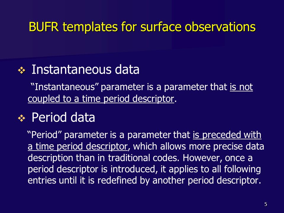 BUFR templates for surface observations