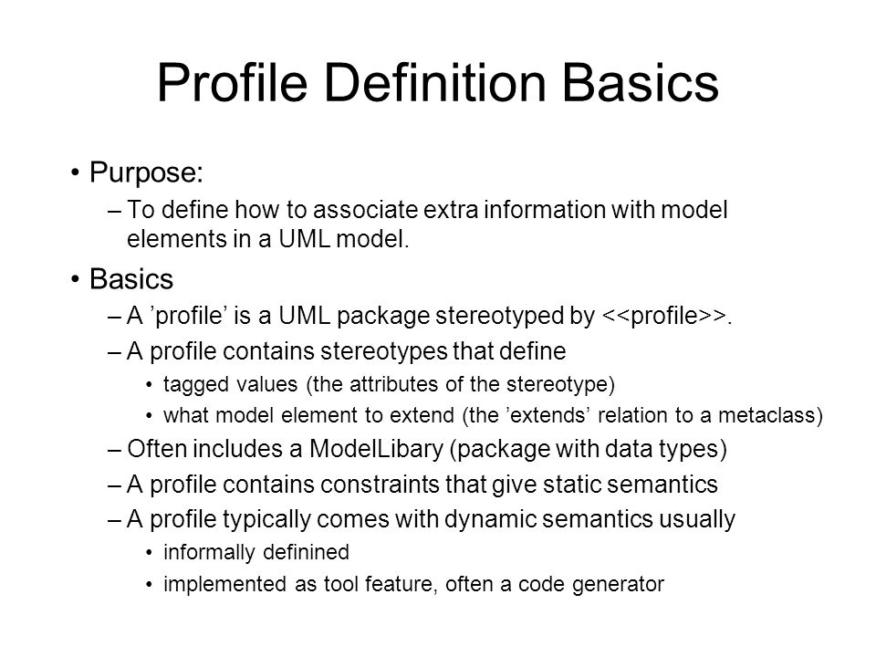Profile Definition Basics