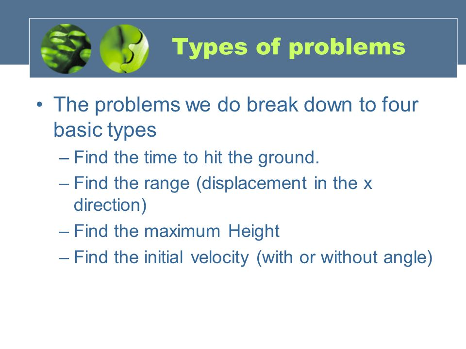 Types of problems The problems we do break down to four basic types
