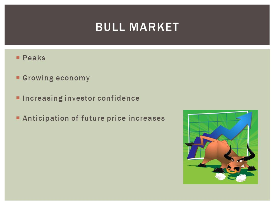 Bull market Peaks Growing economy Increasing investor confidence