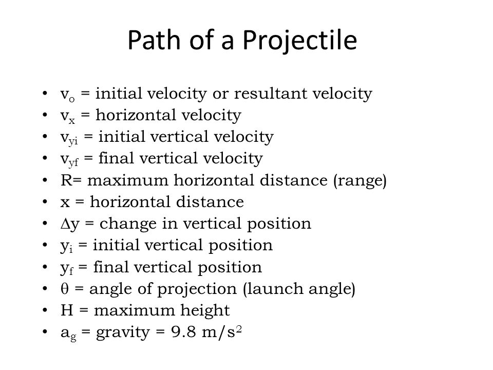 Path of a Projectile vo = initial velocity or resultant velocity