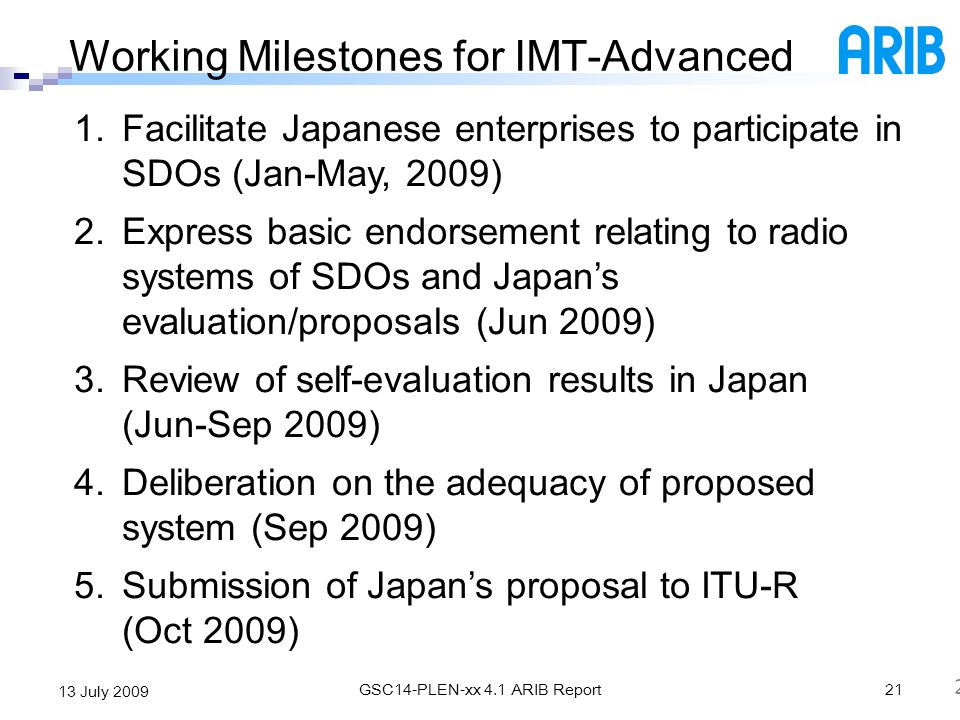 Working Milestones for IMT-Advanced