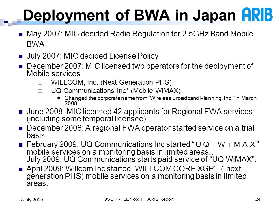 Deployment of BWA in Japan