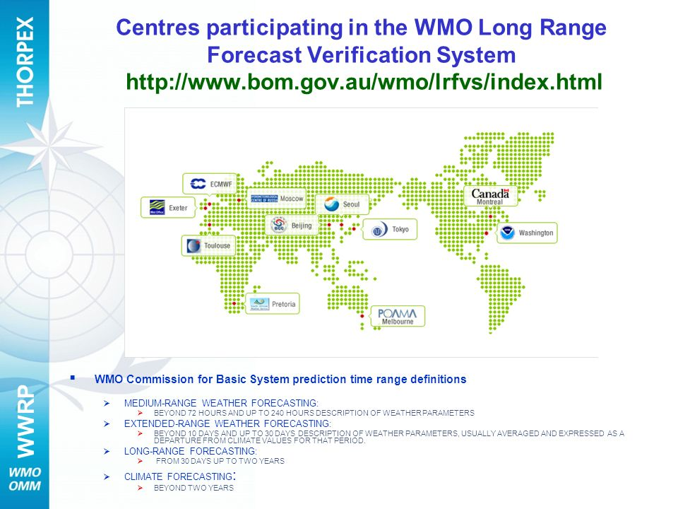 Centres participating in the WMO Long Range Forecast Verification System http://www.bom.gov.au/wmo/lrfvs/index.html