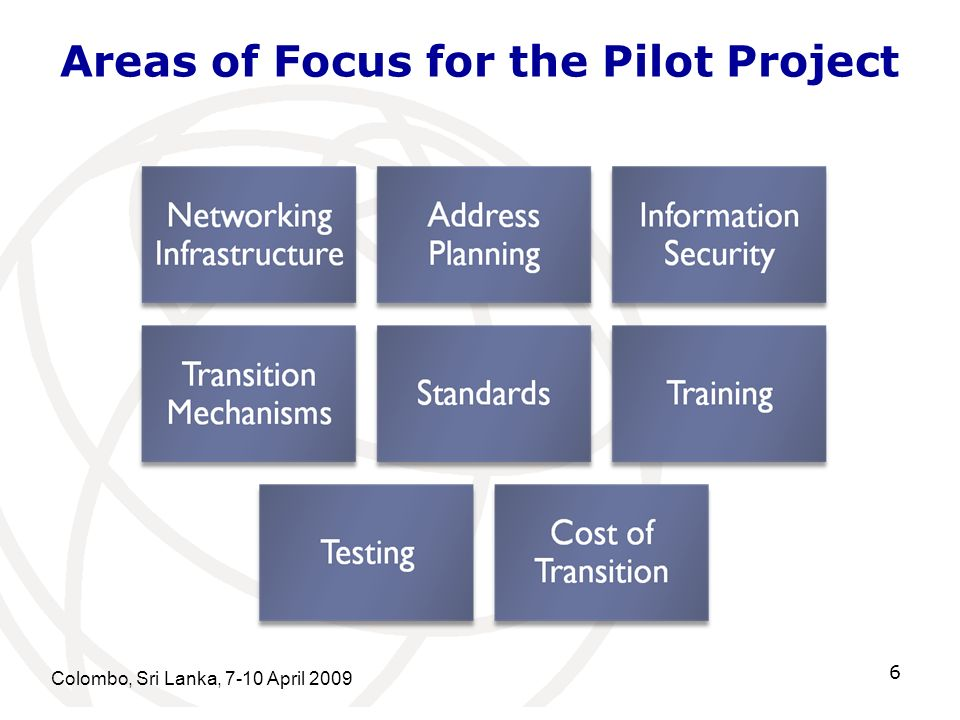 Areas of Focus for the Pilot Project