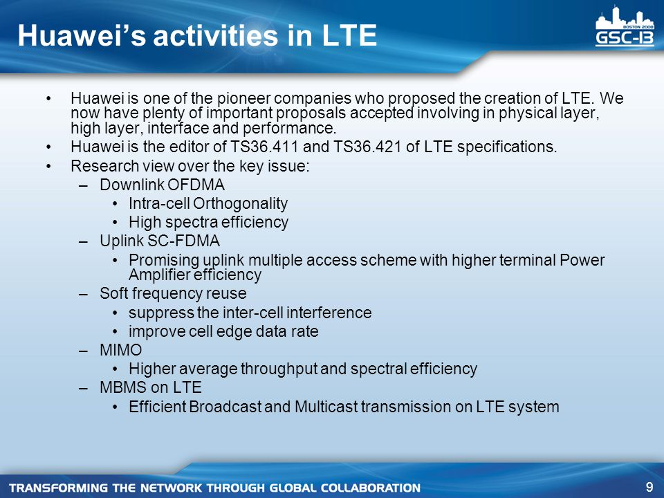 Huawei's activities in LTE