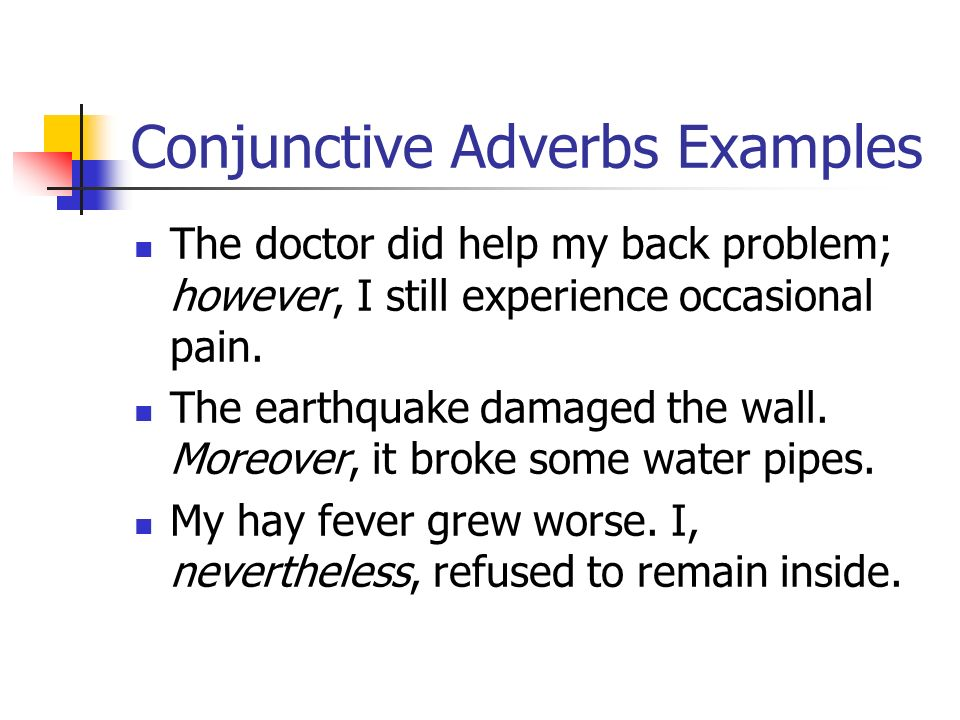 Examples Of Conjunctive Adverbs In Sentences Choice Image Example