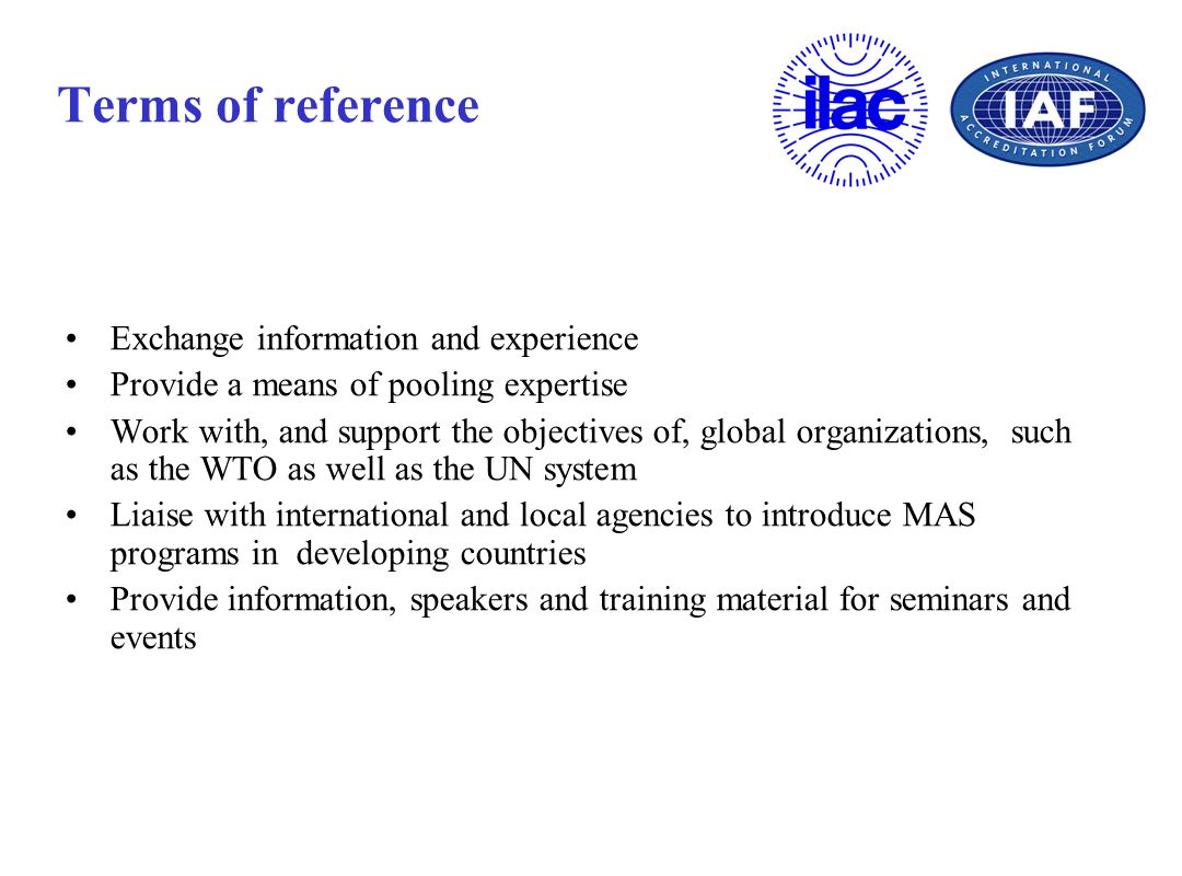 Terms of reference Exchange information and experience