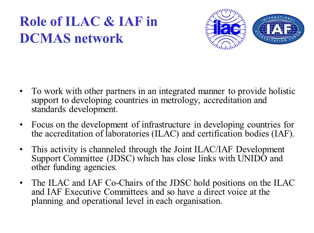 Role of ILAC & IAF in DCMAS network