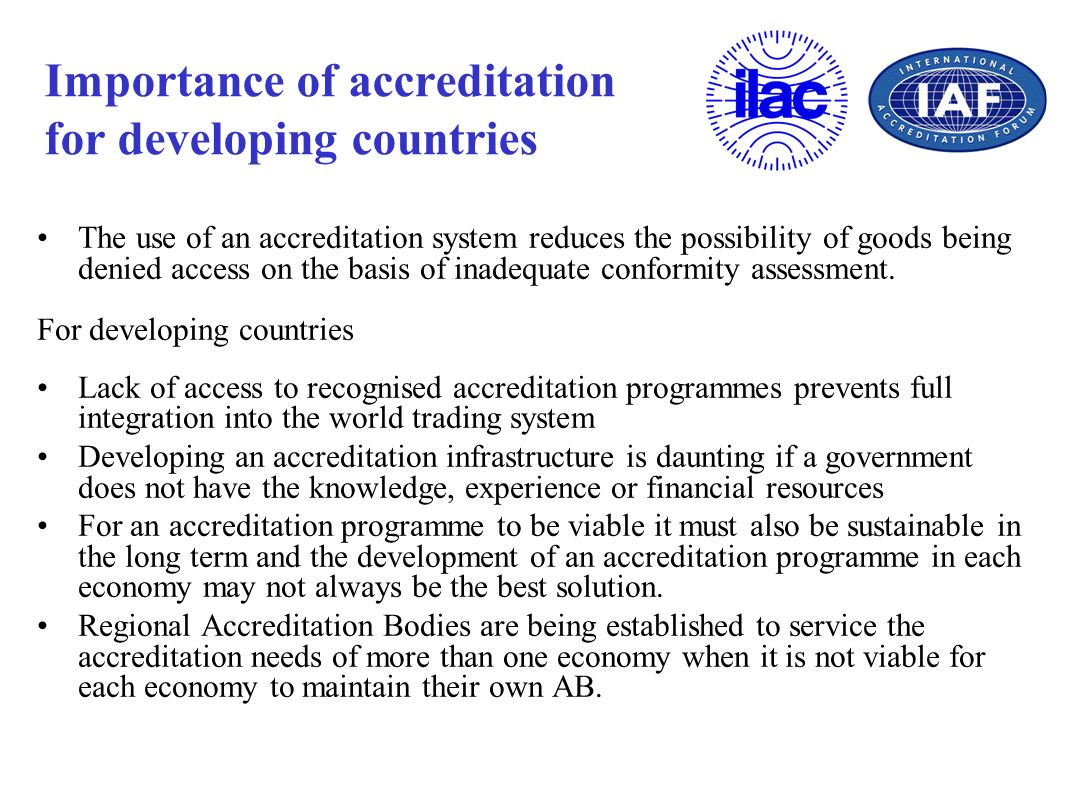 Importance of accreditation for developing countries