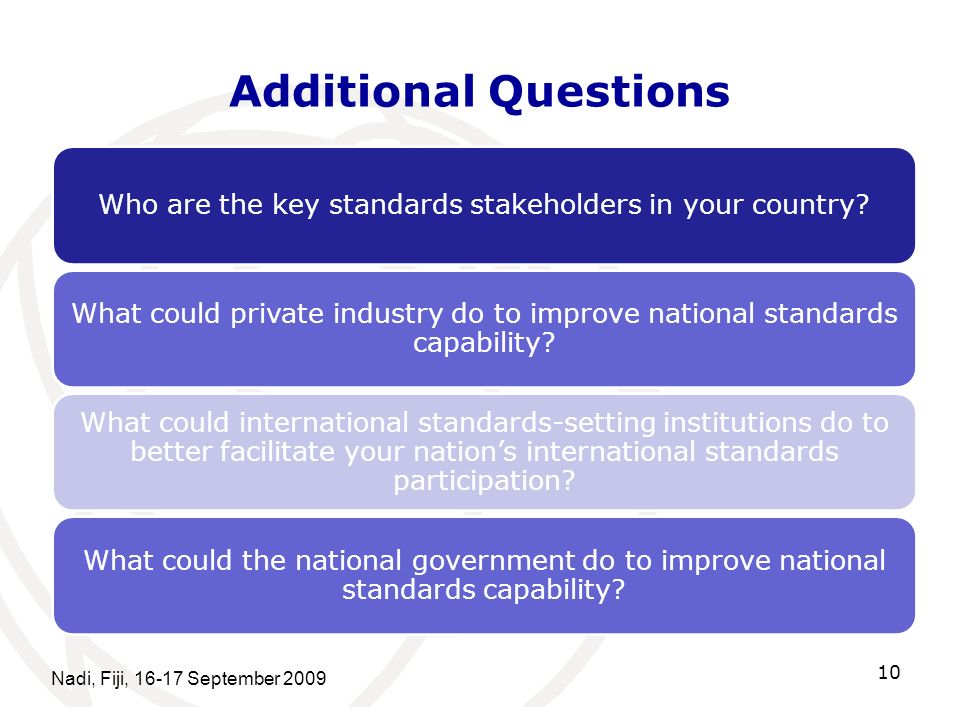 Who are the key standards stakeholders in your country